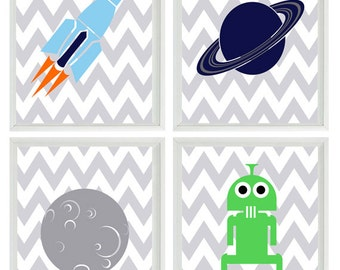Outer Space Art Print Set - Boy Room Nursery Chevron Stripes - Space Ship Alien Planet - Kid Wall Art Children Room Decor   Prints