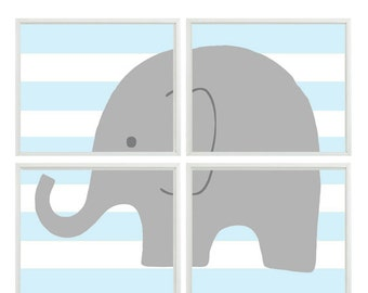 Nursery Art Elephant Print Set - Light Blue  Stripes Gray Decor - Baby Boy Children Kid room -  Wall Art Home Decor -