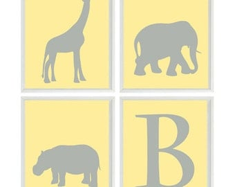 Nursery Art - Elephant Giraffe Hippo - Initial Personalize - Gray Yellow - Safari Wall Art Print Set   - Neutral Baby Wall Art