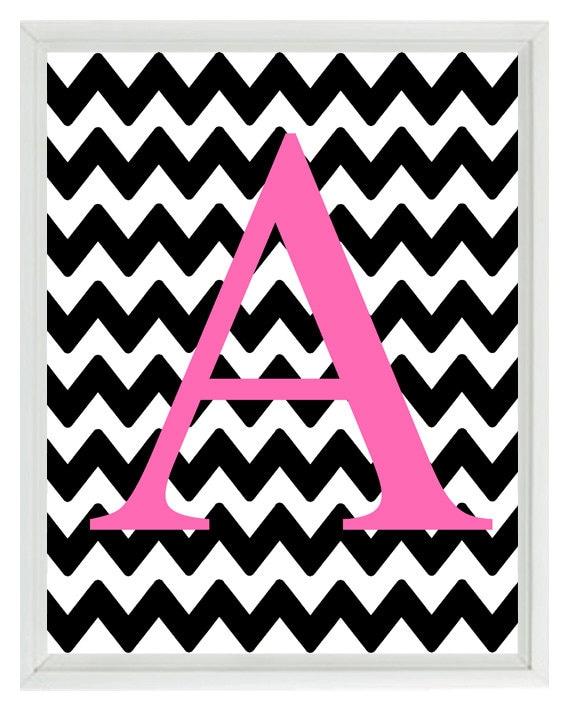 Chevron Monogram Initial Letter Art Print Girl Room Nursery