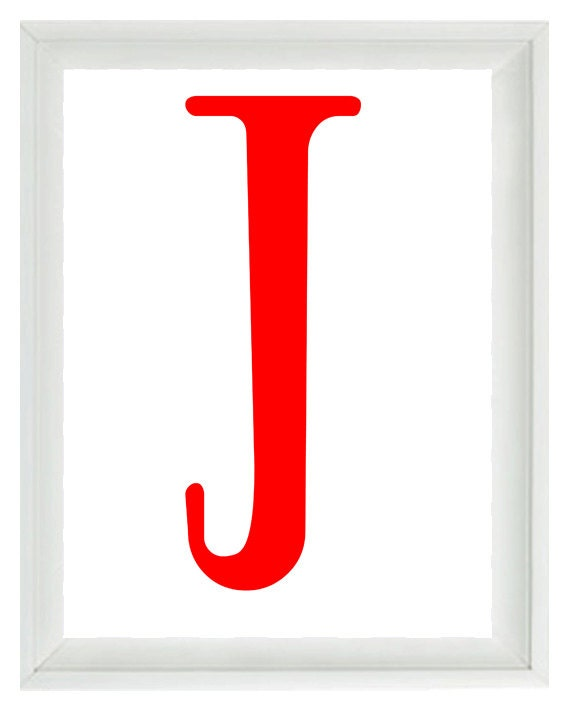 Initial Letter Art Print -  Nursery Children Kid Room Red White Personalized  - Wall Art Home Decor  Print