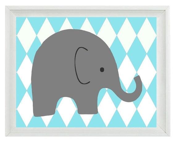 Elephant Nursery Wall Art Print Aqua Gray Decor Harlequin