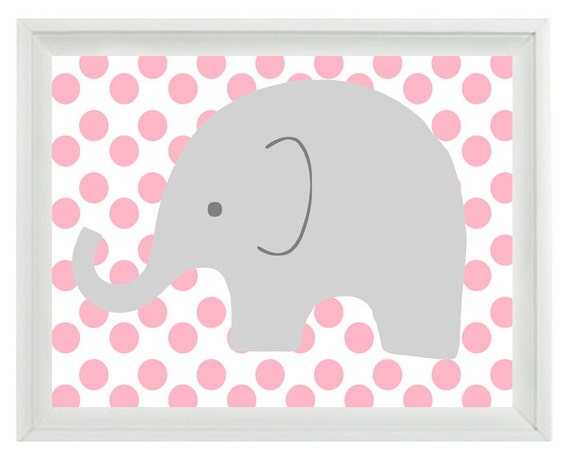 Elephant Nursery Wall Art Print - Pink Gray Decor Polka Dots Children Kid Baby Room - Wall Art Home Decor  Print