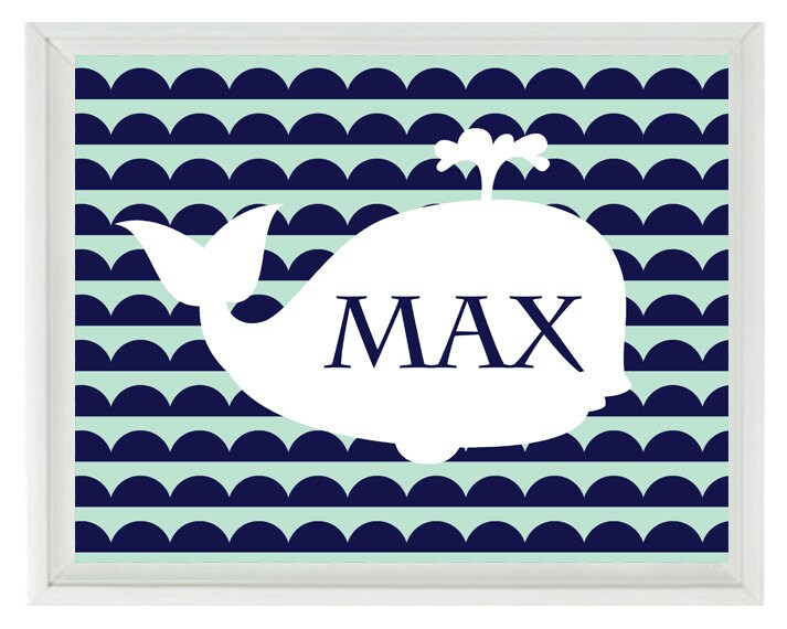 White Whale Wall Decor : Nautical whale wall art print personalize name navy blue