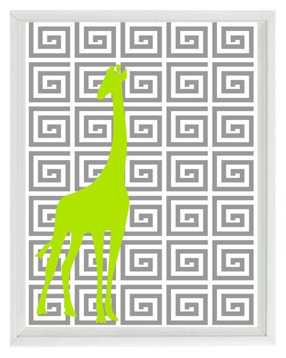 Greek Key Wall Decor : Giraffe nursery wall art print greek key gray green