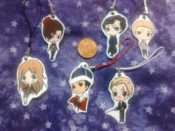 BBC Sherlock and Doctor Who - Cell Phone Charm full set