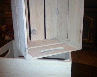 1 PC, White wash replica apple crate with handles