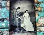 antique tintype . victorian . ladies . old . photograph