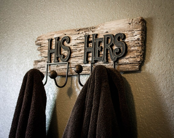 Reclaimed Wood His and Hers Bath Towel Hooks