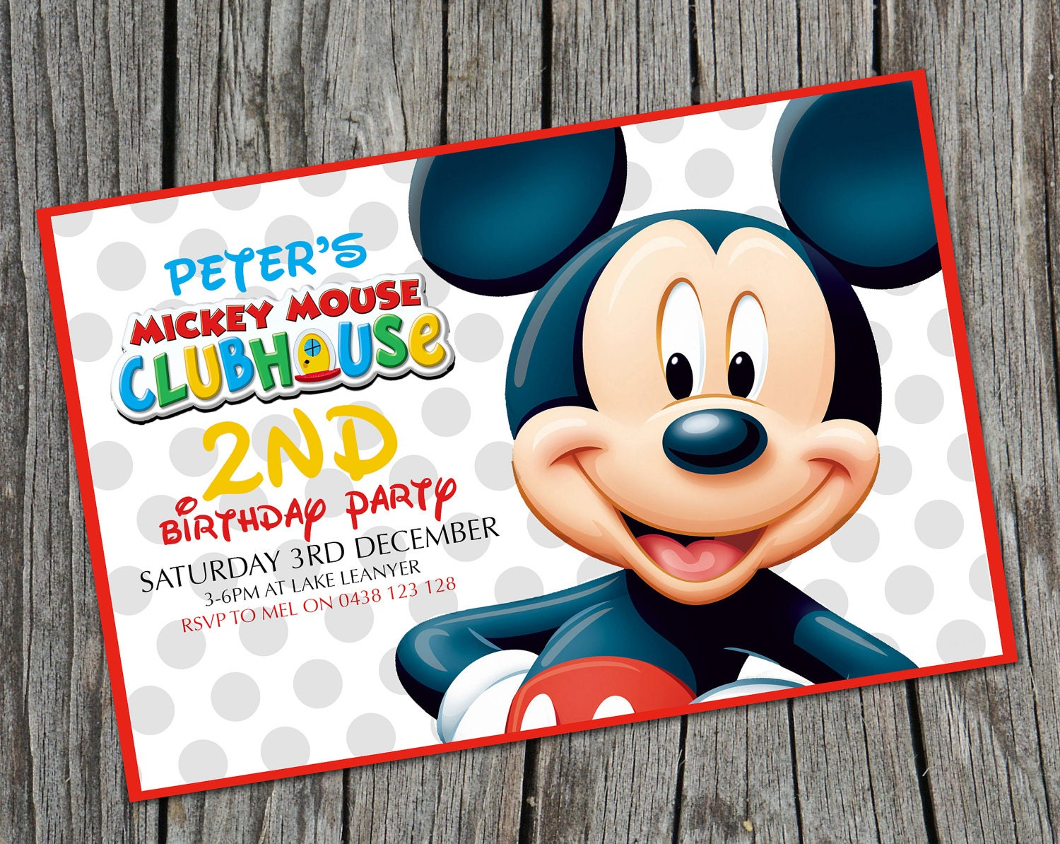 Kids Birthday Invitation Mickey Mouse by theprintablecafe ...