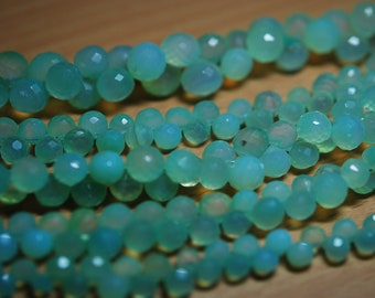 7 Inches,Sky Blue Chalcedony Faceted Onion Shape Briolettes 6-7mm