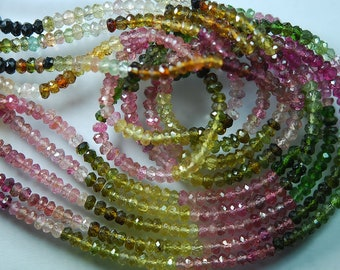 14 Inch-Super-FINEST-  Multi Tourmaline faceted rondelles 3.5-4mm full 14 inch strand,Super Finest Quality