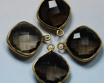 925 Sterling Silver Smoky Quartz Faceted Cushion Shape 24K Gold Plated Pendant,5 Piece of 17mm