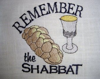 Remember the Shabbat Embroidered Linen Challah (Bread) Cover