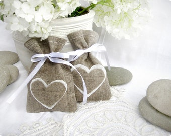Wedding favor bags - Set of 30- Natural Rustic Linen Wedding Favor Bag with hearts or Candy Buffet Bag or Gift Bag
