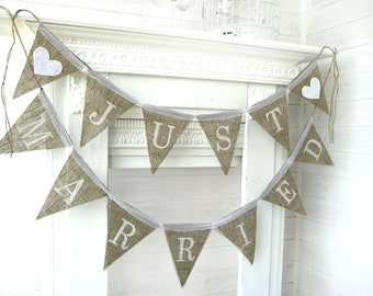 Just Married Wedding banner, rustic wedding banner,just married burlap banner,just married banner, Wedding Banner, rustic wedding