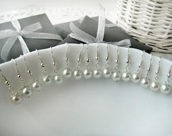 Set of 8-White Pearl Bridesmaid Earrings,Bridesmaid Jewelry Gift Earrings, Bridesmaid Earrings Pearl, Bridesmaid Jewelry