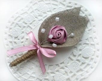 Set of 4-  Dusty pink Flower burlap Boutonniere (buttonhole)