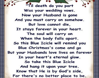In Loving Memory of Husband Blue Icicle Ornament