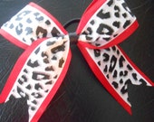 Red and white leopard pony bow