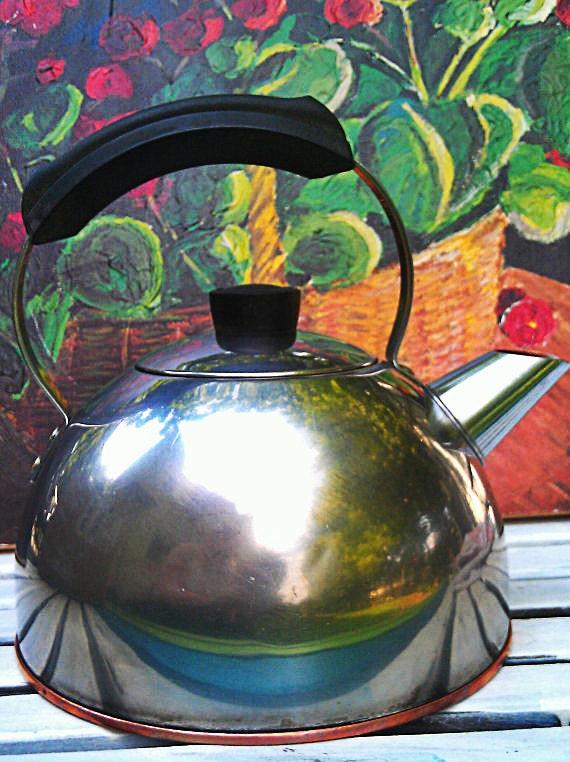 Vintage Silver Teapot -Aluminum/Copper Tea Kettle