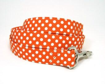 Wrap Around Fabric Dog Leash-Orange dot