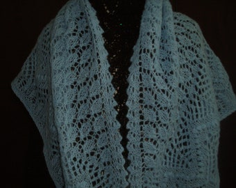 Lace triangle shawl blue mohair FREE shipping