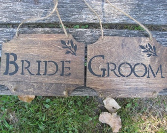 Rustic Wood 'Bride & Groom' Signs. Handmade Wedding Sign. Great For Hanging on Chairs. CUSTOM ORDERS WELCOME.