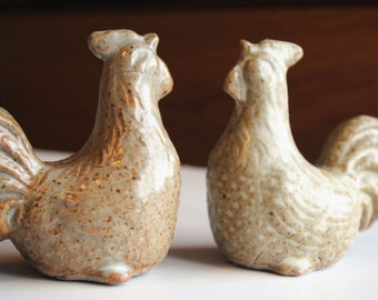 Ceramic Chicken Rooster Figurine Highfired