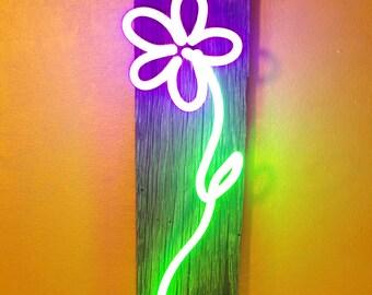Neon Crayon Daisy 5  neon art