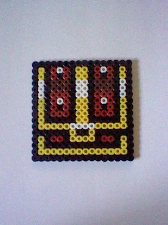 The Legend of Zelda Treasure Chest  perler bead creation....melted beads with magnet on back