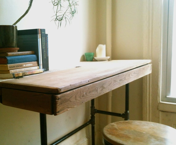Reclaimed Wood Writing Desk with Antique Salvaged Box