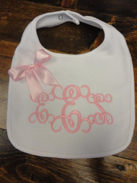Gorgeous Pale Pink Monogrammed Bib