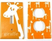 Giraffe Light Switch Plate And Outlet Set in Orange - Personalized Custom Modern Animal Safari Nursery, Jungle Nursery, Child Decor - twowhiteowls
