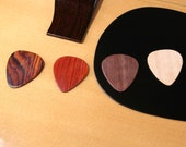 Wood Guitar Pick Gift Set -handmade - Beautiful set of 4 exotic and common hardwoods - Excellent tone range - 1