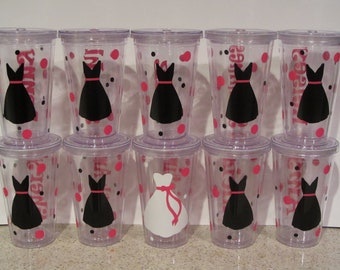 BPA FREE PLASTIC bachelorette party, girls night out, wedding tumblers and cups for bridesmaids, beach, cruise, flower girls and more
