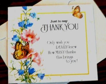 vintage cards ... THANK YOU Butterfly Floral single CARD only ...