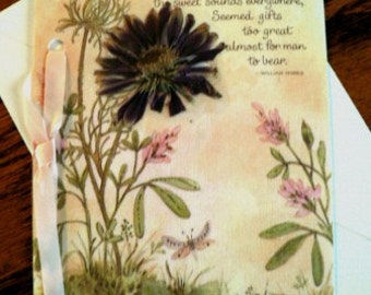 handmade artisanal cards scrapbooking destash ... DRIED FLOWERS Speedy Recovery Card w envelopes ...