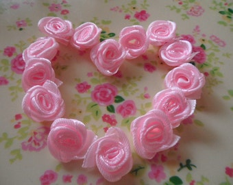 20pcs -  Shallow pink roses flower cloth  cabochon 15mm