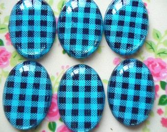 12pcs-Acrylic Oval shape blue Lattice  setting cabochon  18x25mm