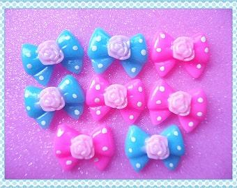 8pcs Resin Blue & Pink bows cabochon 22x17mm