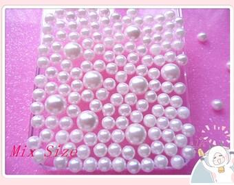 Hot Sale Mixed Size 450pcs Ivory Faux half pearls flatback cabochon