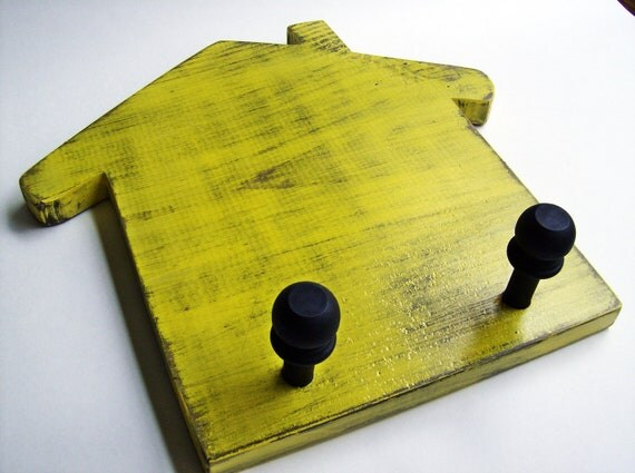 Yellow Wooden House wall and key hook organizer country cottage chic rustic shabby wall decor