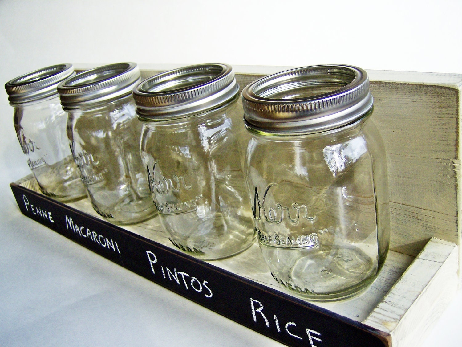 Items similar to kitchen decor mason jar shelf bonne for Kitchen jar decoration