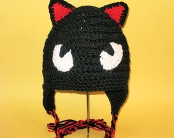 Black Cat Earflap Hat. (Any Sizes: Newborn to Adult). Please send the size.