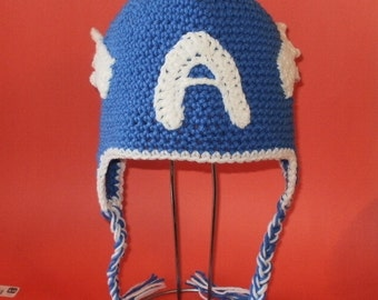Crochet Pattern PDF Blue Hero Hat. Beanie and Earflap. (All Sizes Included: Newborn to Adult). Permission to sell finished items.
