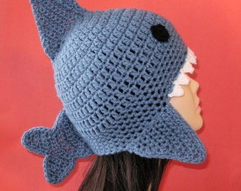 Shark Earflap Hat. (Any Sizes: Newborn to Adult). Please send the size.