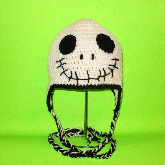 Crochet Pattern PDF Skeleton Hat. Beanie and Earflap. (All Sizes Included: Newborn to Adult). Permission to sell finished items.