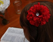 Red Flower Clip - 3.5""