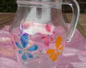Hand Painted Floral Design glass jug